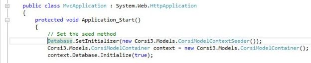 Corsi Database Initialization