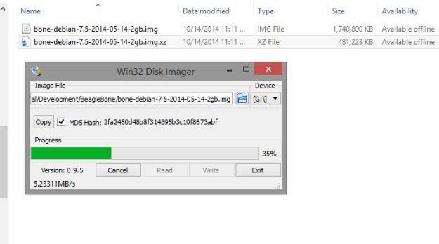 Write Debian IMG file to SD card