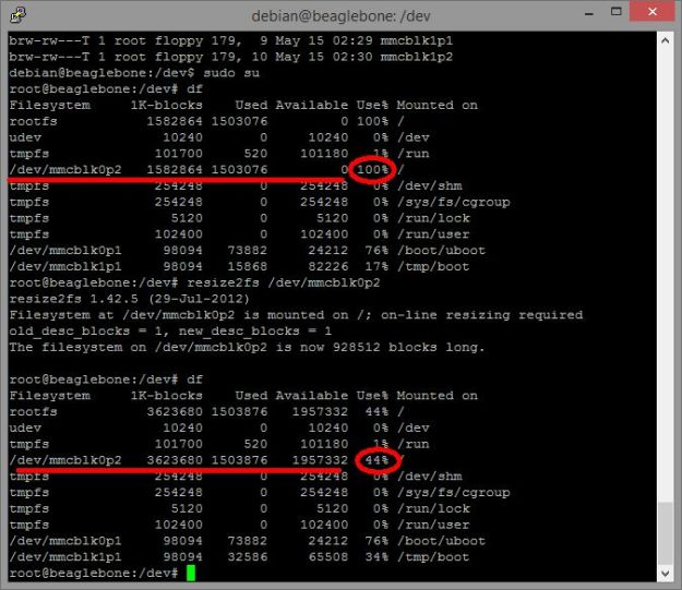 Result of Linux kernel paritition resize