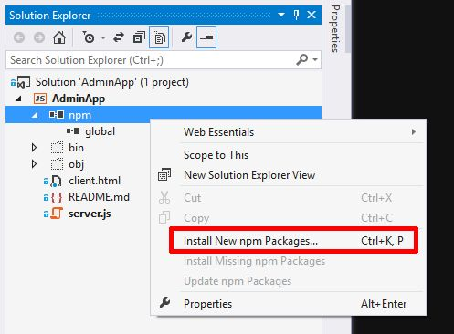 VS2013 - Install npm Packages