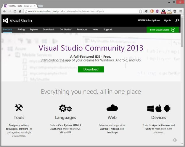 Microsoft Visual Studio Community 2013 Website