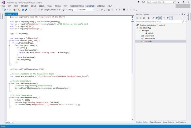 Up and Running in Visual Studio with node.js Project