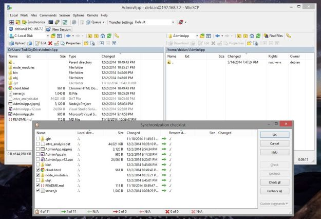 Using WinSCP Synchronize Directories Feature