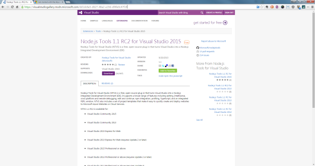 Node.js Tools 1.1 RC2 for Visual Studio 2015