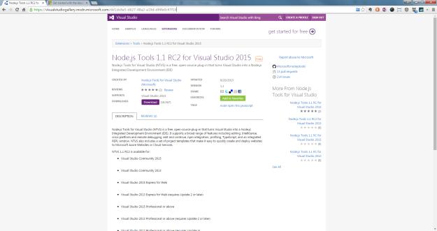 Node.js Tools 1.1 RC2 for Visual Studio 2015