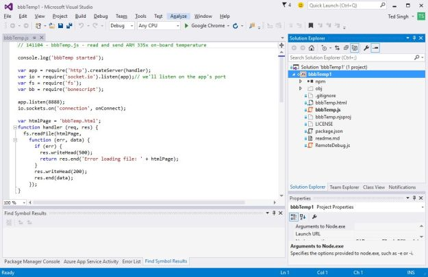 Visual Studio Node Project
